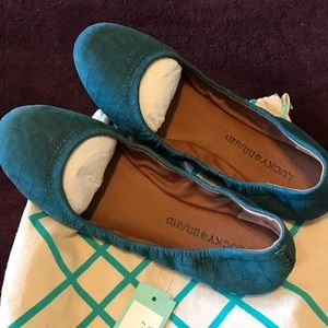 NWT Lucky Brand teal leather ballet flats size 7